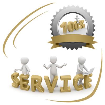 Einhundert Prozent Service